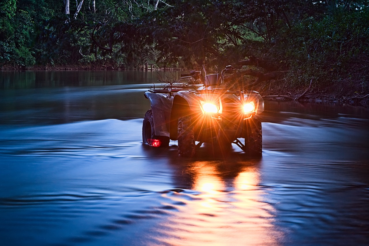 atv in water