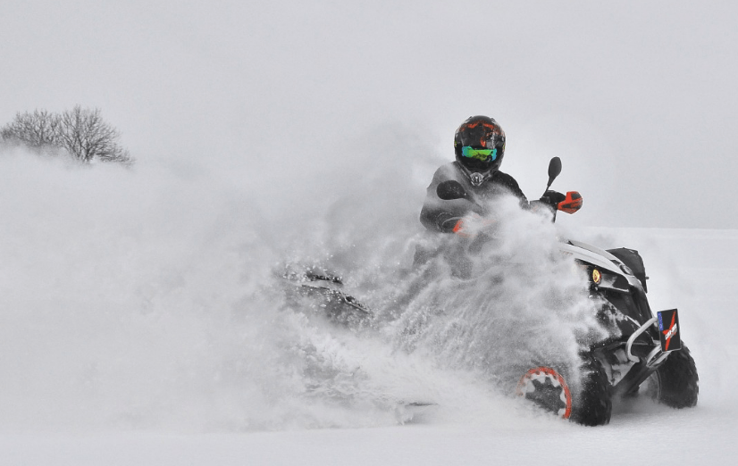 atv in the snow